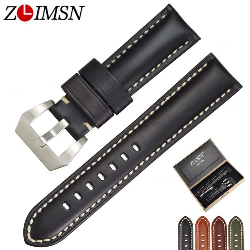 ZLIMSN Genuine Leather Watch Bands Black Smooth Cowhide Leather Watch Strap 22 24 26mm 316L Steel