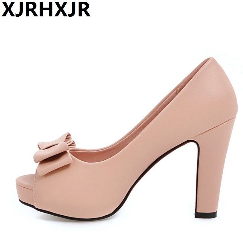 XJRHXJR Gladiator Sandals Shoes Women Summer Open Toe Thick High Heels Dress Shoes Ladies Casual Sweet Platform Summer Sandal 2017 summer shoes woman platform sandals women soft leather casual open toe gladiator wedges women shoes zapatos mujer