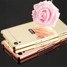 "For Sony XA 5.0"" Golden Plating Aluminum Frame + Mirror Acrylic Back Cover Phone Protective Case For Sony Xperia XA Dual F3112(China)"