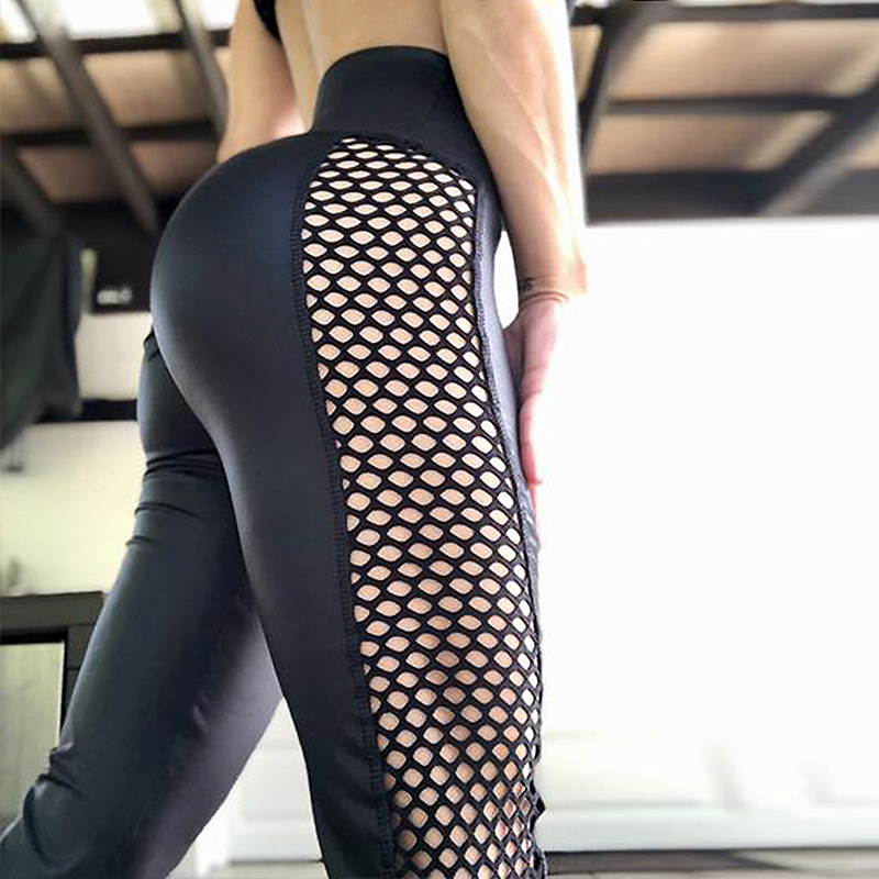 High Waist Leggings Women Mesh Patchwork Push Up Legging Fitness Pants Workout Leggins Breathable Polyester Sports Leggins(China)