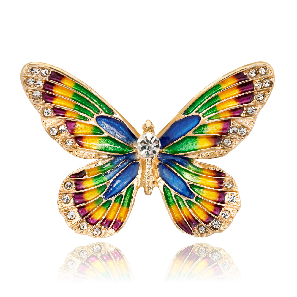 New High grade Butterfly Broches Brooch Brooches Enamel Pin For Women Lapel Bird Fashion Safety Rhinestone Pins