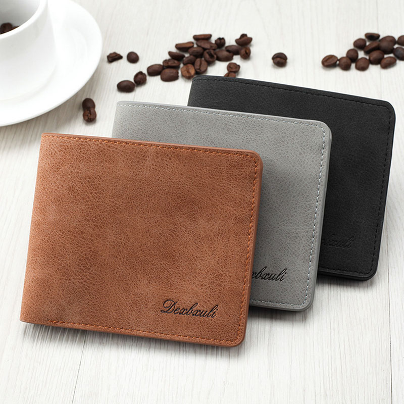New Casual Men's leather wallet Soft Slim purse for man with card holder 3 colors