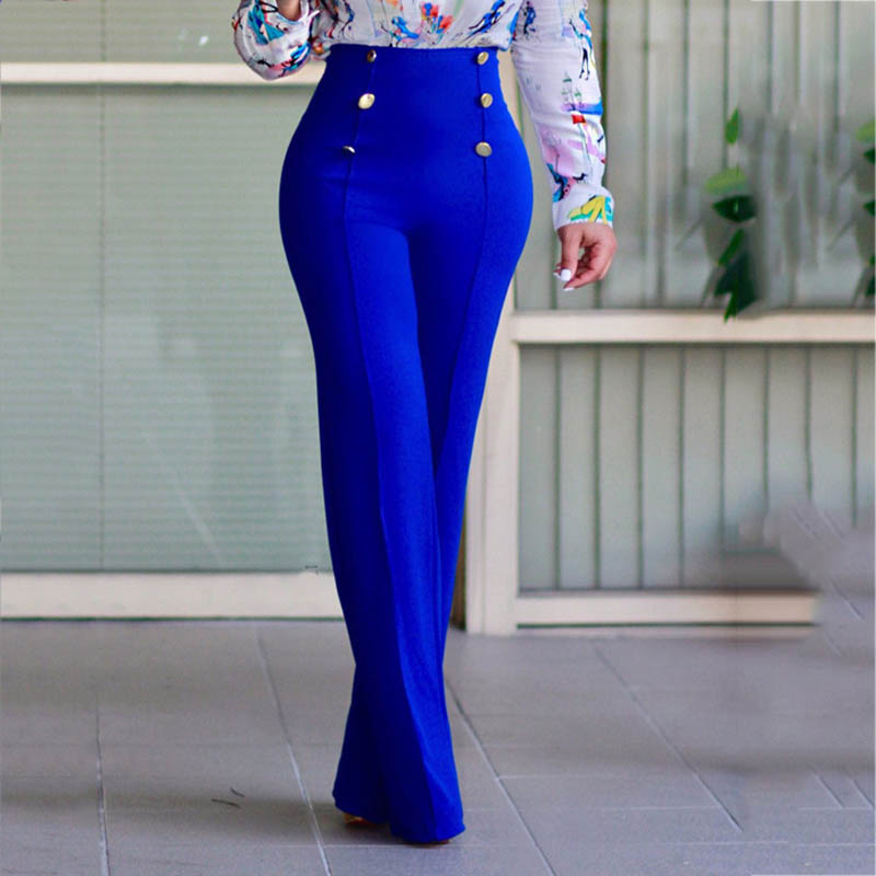 Fashion Summer Women Pants High Waist Straight Wide Leg Solid Color Lady Trousers HSJ88