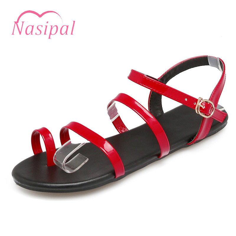 Nasiapl Shoes Woman Sandals Black Red Concise Solid Women Shoes Gladiator Open Toe Roman Shoes Bohemia Style Casual Flats C230 women wedges sandals 2016 sweet casual ladies platform gladiator sandals open toe flats dress shoes woman size 35 39 pa00366