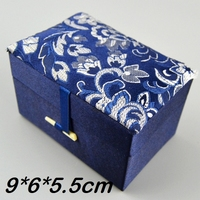 High Quality Silk Brocade Boxes Cotton Filled Jewelry Trinket Boxes Gift Packaging Box Keepsake Box Size