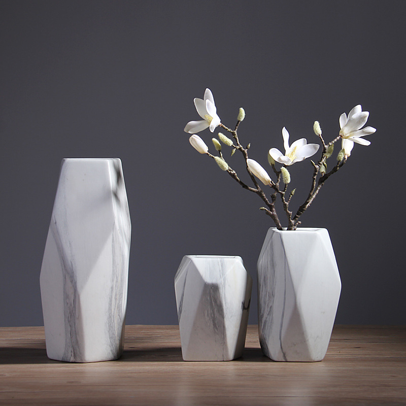 Green Sound Modern Minimalist Vase Decoration Living Room Ceramic Dried Flower Vase Marble Pattern Creative Home Table Vase
