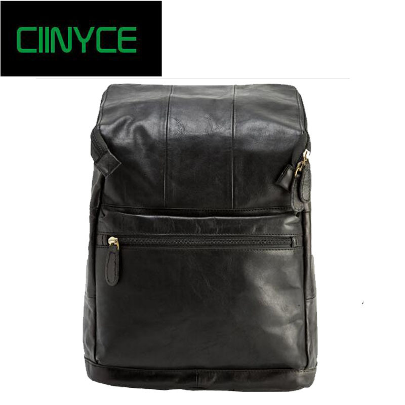 Genuine Leather Men Laptop Back pack Travel Casual Business Male computer Luxury Waterproof Soft Cow Skin Daypack Backpack