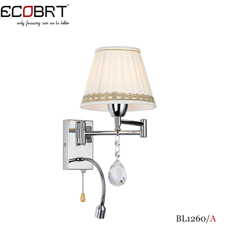 Ecobrt Bedside Crystal Wall Lamp Bedroom Living Room Modern Decorative Stair Light With Flexible Led Reading