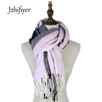 jzhifiyer XG17-06 winter sshawls acrylic thick jacquard scarve geometric stoles bandana fringe capes women mens warm neckwear