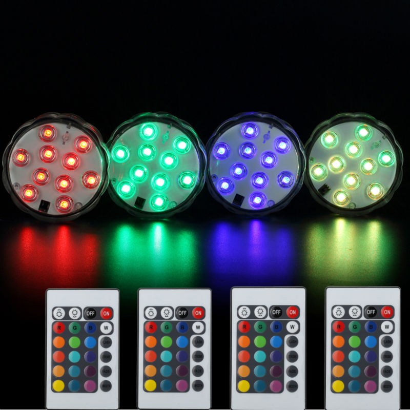Kitosun 4pcs/lot Waterproof Submersible Mini Lights Battery Operated LED Lights Underwater LED Lights for Hookah Shisha decor