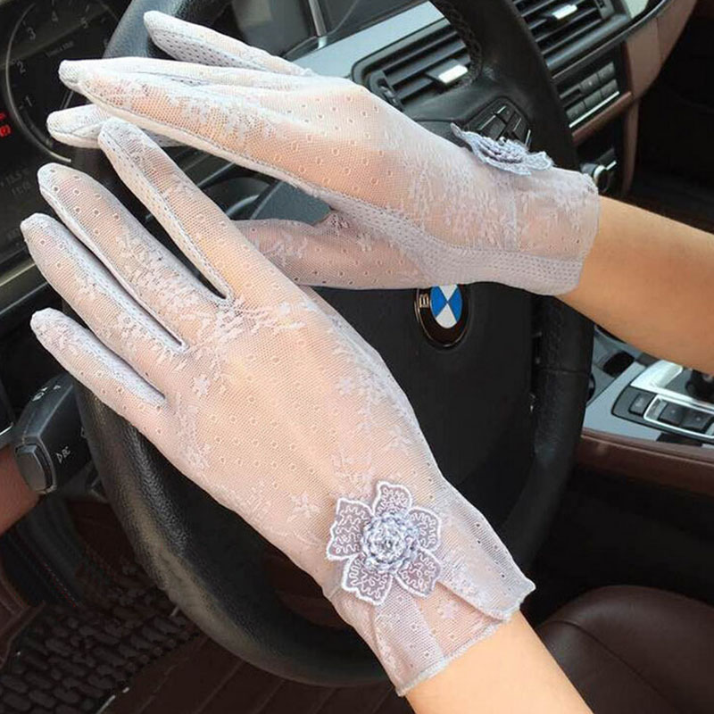 New Summer Women's Lace Gloves Ladies Thin Touch Screen Gloves Anti-UV Anti-Slip Mittens Female Driving Guantes Mittens