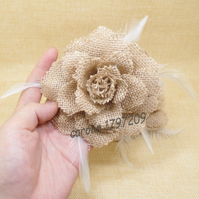 4pcs Feather FlowerS With Pin Natural Jute Burlap Hessian Flower ...
