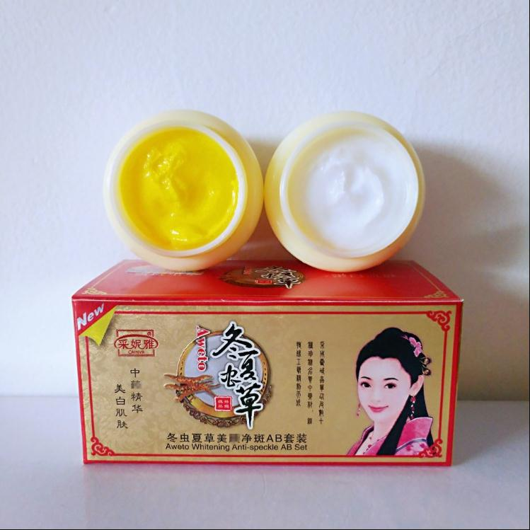 Chinese Aweto Whitening Anti-Acne Day Night Cream Set Melasma Dark Age Dark Spots Freckle Remover Skin Lightening Skin Care