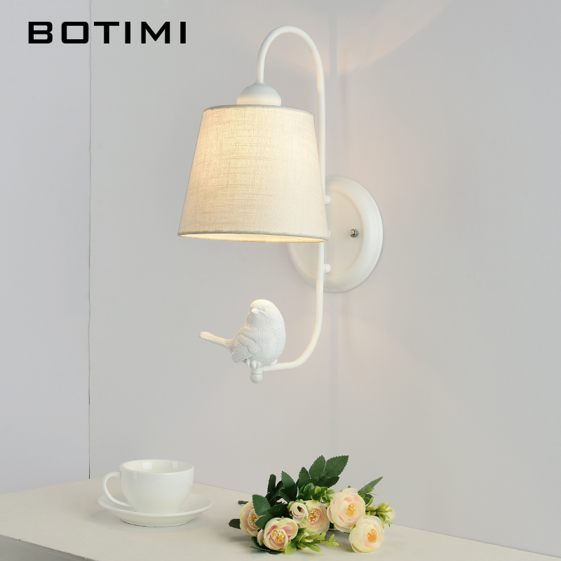 BOTIMI New LED Wall Lamp With Bird For Living Room Modern Fabric Wall Mounted Bedside Light White Wall Sconce Room Lights botimi modern wall lamp for living room bedside lamp led wall light nordic wall sconce simple reading light fxture