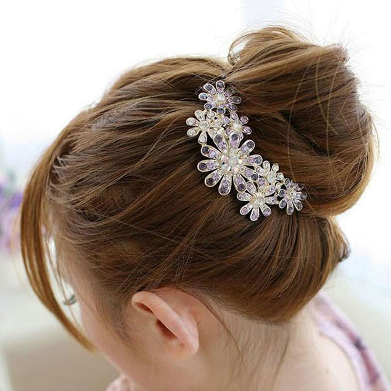 3 5 Black Flower Hair Clip With Flower Center: 1PC Fashion Crystal Flower Hairpins Metal Hair Clips For