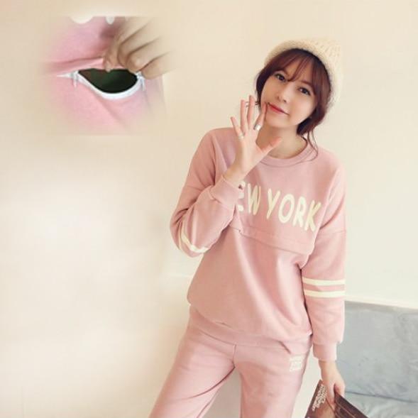 christmas pyjama allaitement sport style pink Breastfeeding pajamas woman 2 piece clothes pijama lactancia mother lounge set