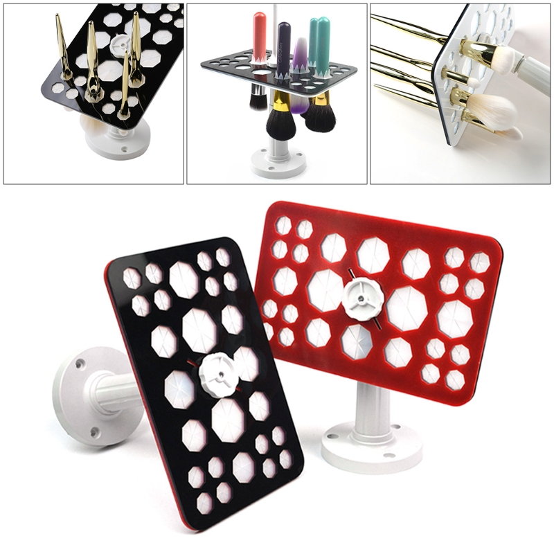 26 Holes Makeup Brush Holder Air Drying Rack Stand Organizer Cosmetic Shelf Tool easy install brush drying rack tree for different standard holes random color