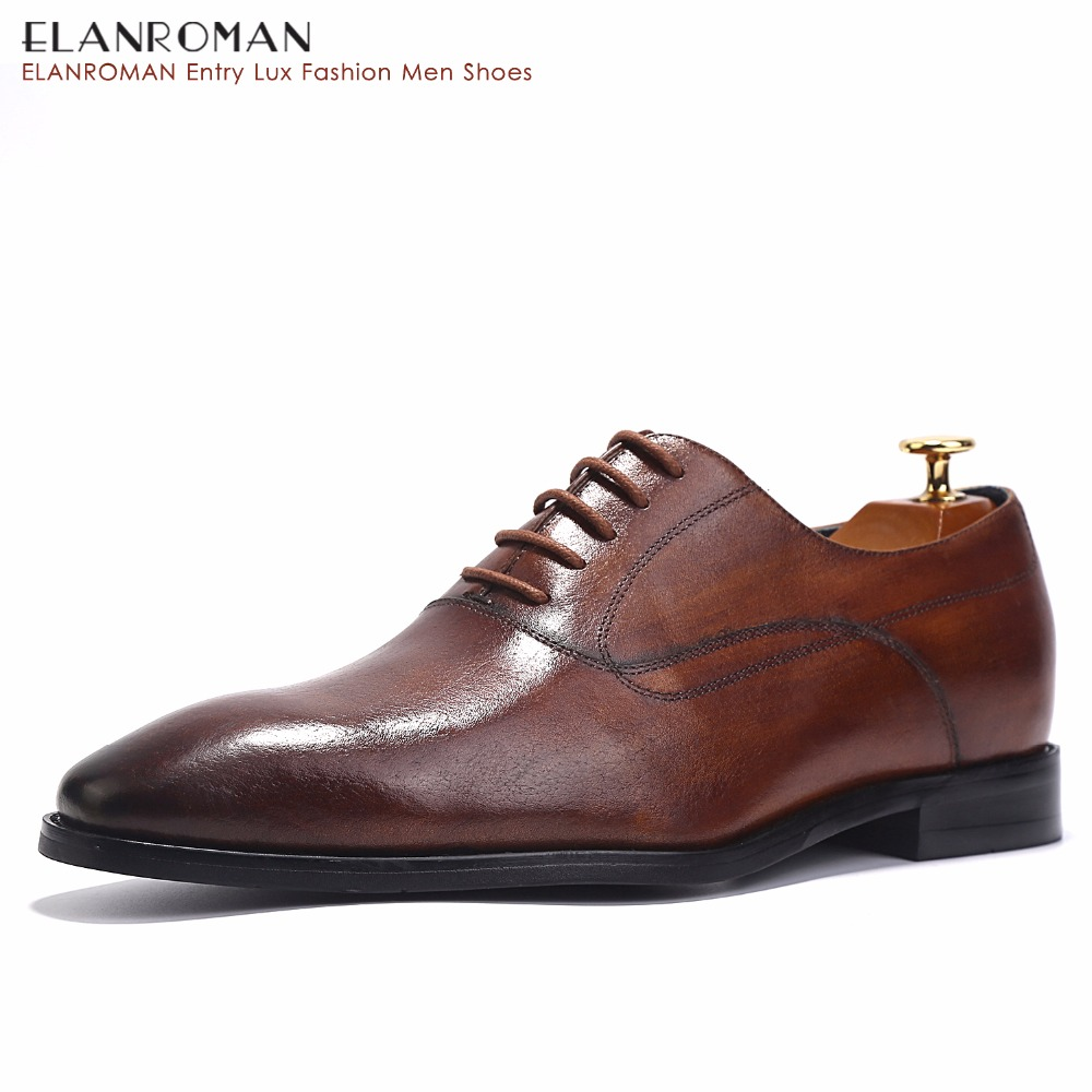 ELANROMAN Luxury Italian Handmade Men Shoes Men Full Grain Business Dress Derby Shoes Maroon
