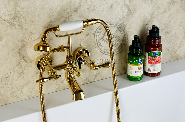 Free Shipping Wall Mounted Gold Plate Bathtub Faucet Double Handle