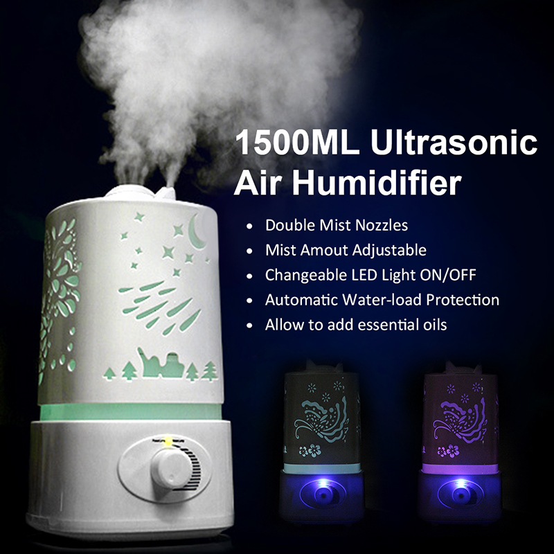 ФОТО 2017 Aromatherapy Ultrasonic Air Humidifier 110-240V LED Night Light With Carve Design Essential Oil Aroma Diffuser Mist Maker