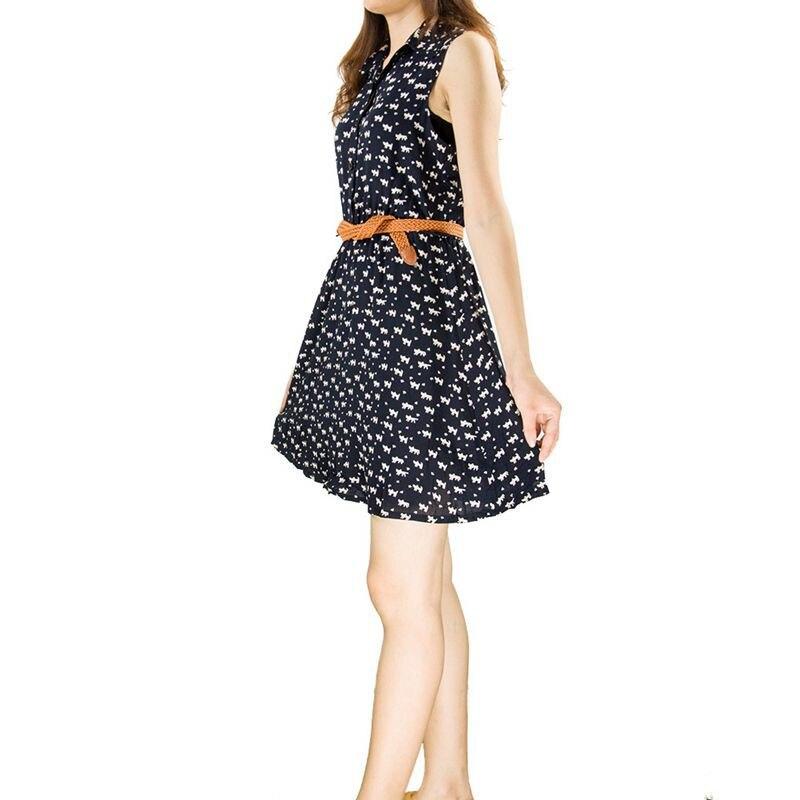 aa9bc4b6bed4 2018 Doce Gato Pegada Impressão Verão Vestido Sem Mangas Vestido de Cintura  Alta com Cinto Mulher Camisa De Vestido Casual Mini Vestido Das Mulheres em  ...