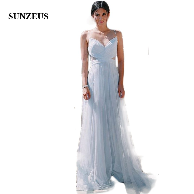 Light Grey Tulle   Bridesmaid     Dresses   Sweetheart Spaghetti Straps Pleats Simple Wedding Guest   Dresses   See Though Waist SBD117