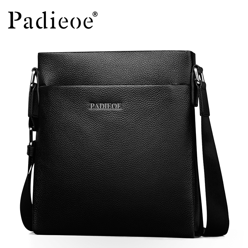 Padieoe Fashion Brand Men Bag Genuine Leather One Shoulder Crossbody Male Shoulder Messenger Bags Business