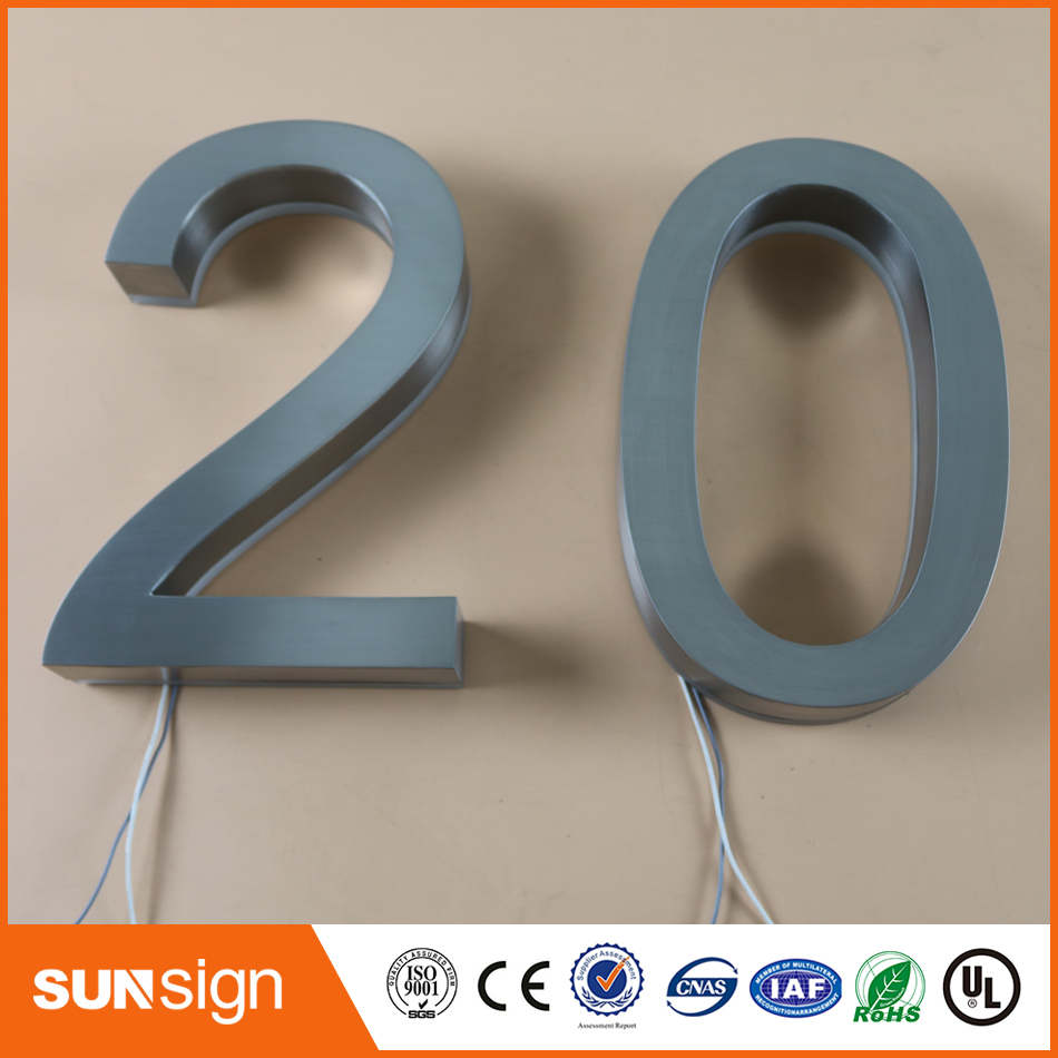 f992166595f Custom made outdoor waterproof 3D back lighted stainless steel channel  letter signs for shop name