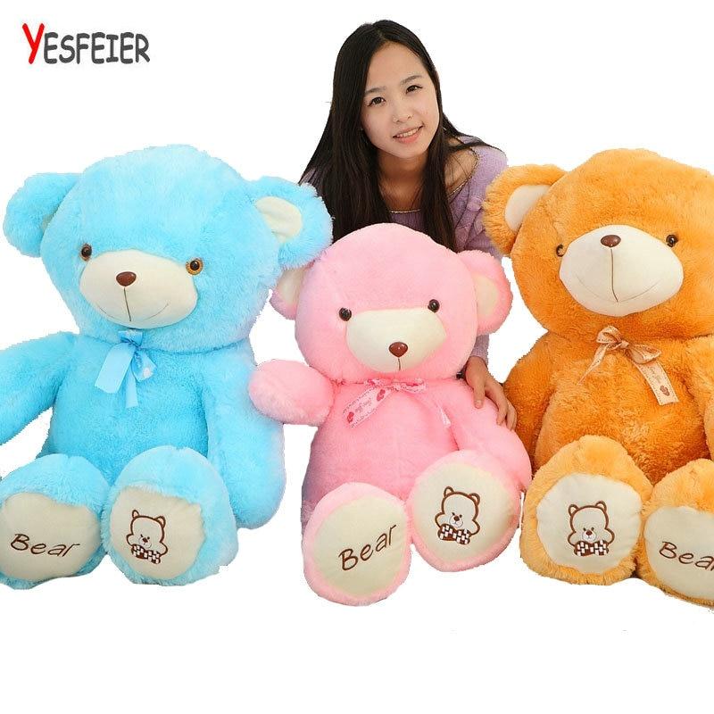 60-120cm Cute colorized bear plush toys teddy bear doll stuffed plush animals pillow toy cushion blue/pink/brown new cute plush brown teddy bear toy pink heart and bow bear doll gift about 70cm