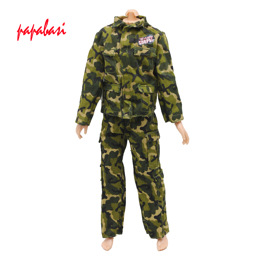 1set Doll Prince Clothes Army Combat Uniform Outfit For Barbie Boy Male Ken Doll For Lanard 1/6 Soldier Best Gift  W011 1 6 scale diver combat frogman set seal water ghost soldier clothes soldier costume clothing set for collections