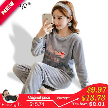 Autumn and Winter Women Pyjamas Sets Thick Warm Coral Velvet Suit Flannel Long Sleeve Female Cartoon Bear Animal Pants Sleepwear - DISCOUNT ITEM  40% OFF All Category