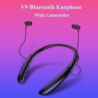 V9 Wireless Bluetooth 4.1 Headphone Mini Camera Neckband Stereo Earphone with Camcorder Sports Recorder Bluetooth Headset