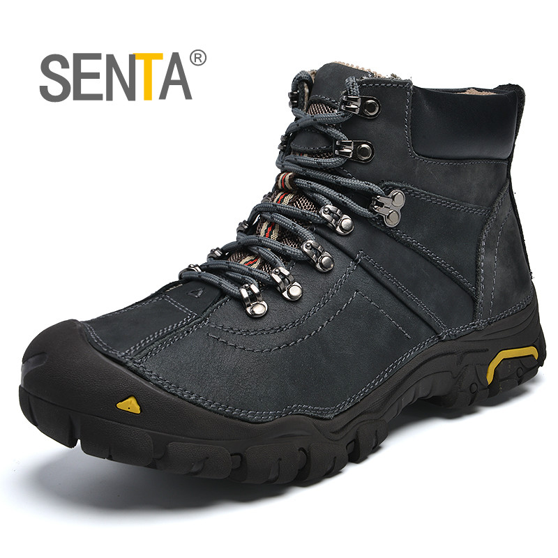 High quality Genuine Leather Winter Hiking Shoes Plush Trekking Mountain Climbing Shoes Anti Slip Outdoor Sport