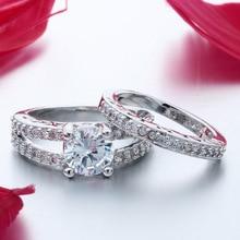 ФОТО MDNEN  White Stone Ring Geomtric Round Cryltal Ring  Women Wedding Engagement Anniversary Jewelry Ring