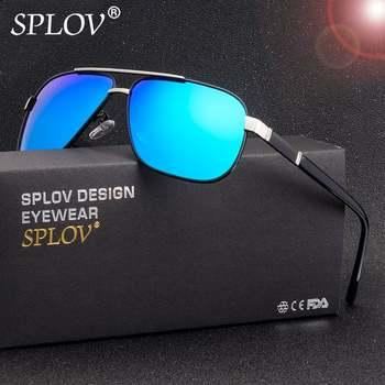 SPOLV Nouvelle Mode Hommes Polarisées lunettes De Soleil Rétro En Métal Cadre Carré Lunettes De Soleil Marque Designer Conduite Lunettes De Sol