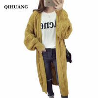 QIHUANG Fashion Women Long Cardigans Sweater 2017 Autumn Winter Female Sweater Twist Pattern Knitted Sweater Cardigans