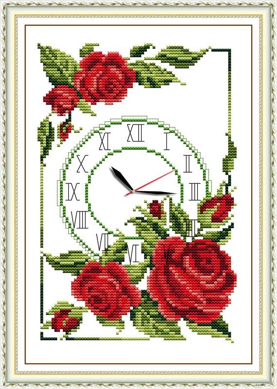 Guirnalda de rosas reloj Cruz punto kit 14ct 11ct cuenta impresión ...