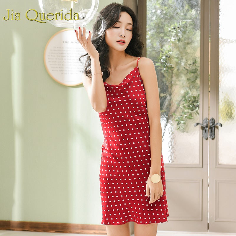 Women's Sleepwears Systematic J&q 2019 Summer New Female Satin Silk Nightgowns Soft Skin Friendly Cami Dress Polka Dot Spaghetti Strap Sexy Night Gowns Women To Win Warm Praise From Customers