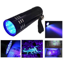 Super Mini Aluminium UV ULTRA VIOLET 9 LED ZAKLAMP BLACKLIGHT ZAKLAMP Licht Lamp(China)