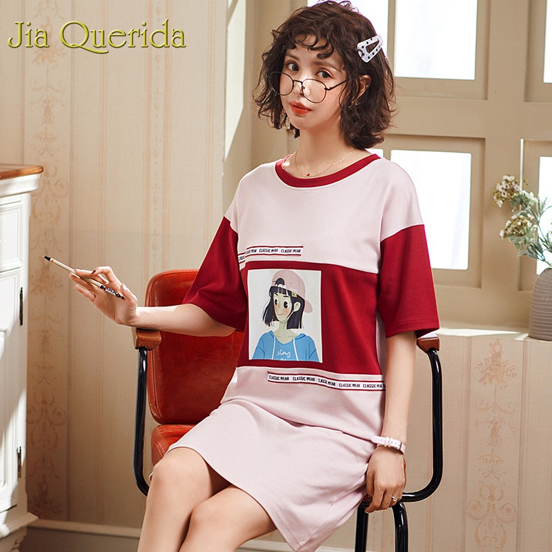 J&Q Women   Nightgowns   &  sleepshirts   Fashion Style 100% Cotton   Nightgowns   2019 Summer Short Sleeves Cartoon Printing Lingerie Dress
