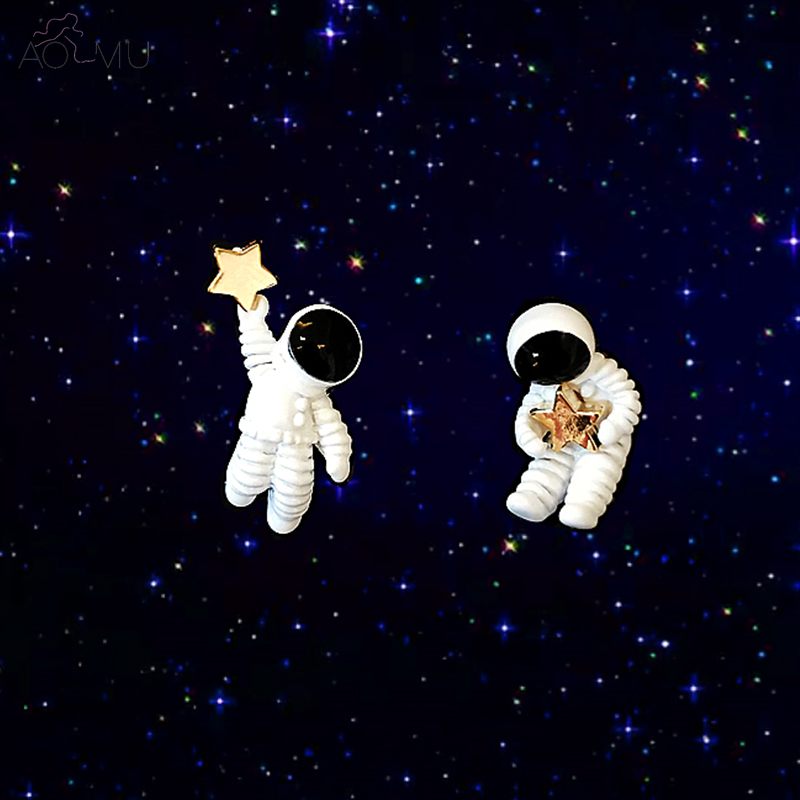 AOMU Japan Korea Unique Cute Design Starry Sky Space Star Asymmetrical Astronaut Small Stud Earrings for Women Girl Gift