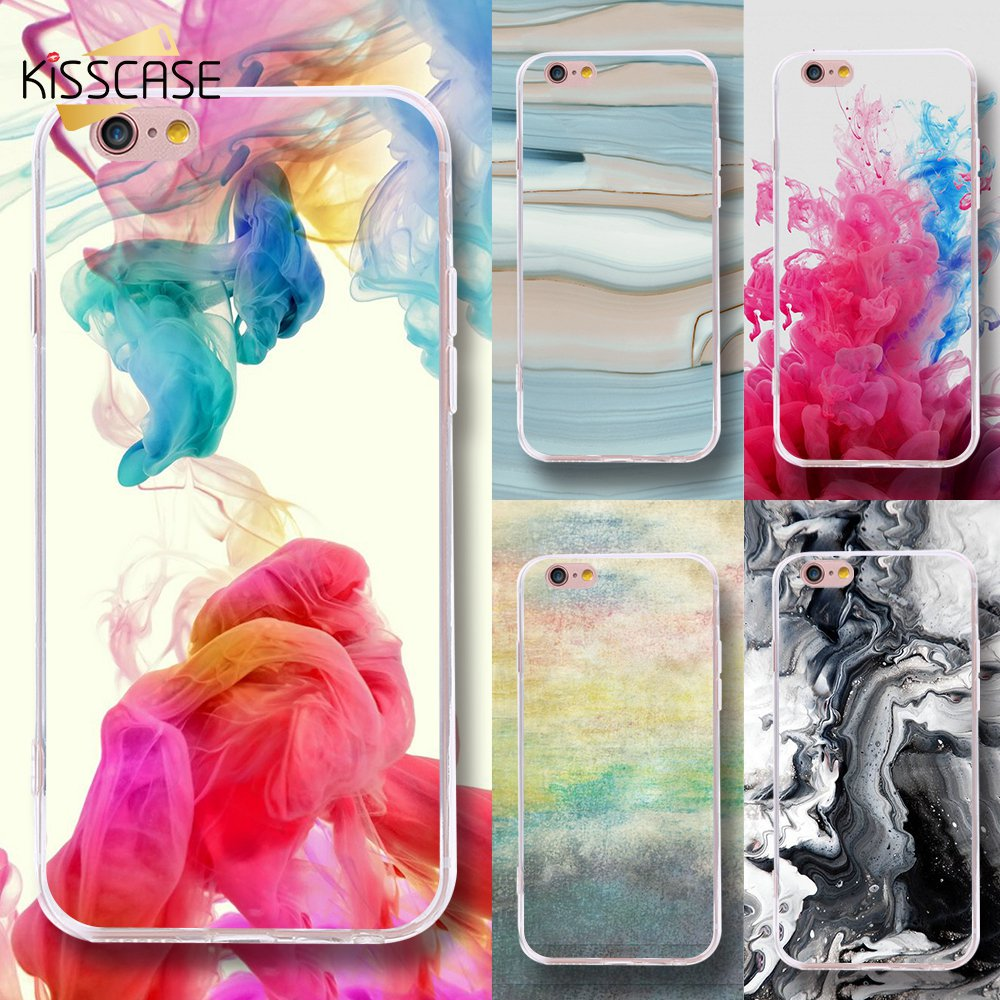KISSCASE For iPhone X 8 7 6 6s Plus 5 5s SE 5c Case Colorful TPU Painted Cover For iPhone Unique Stylish Fashion Art Back Shells