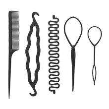 """5 шт./компл. Профессиональный булочка аппарат для сворачивания трубочек Твист бигуди, подвязанные лентой, с объемной волной инструмент заколка для волос, """"конский хвост"""", """"сделай сам"""" для укладки волос аксессуары для путешествий"""