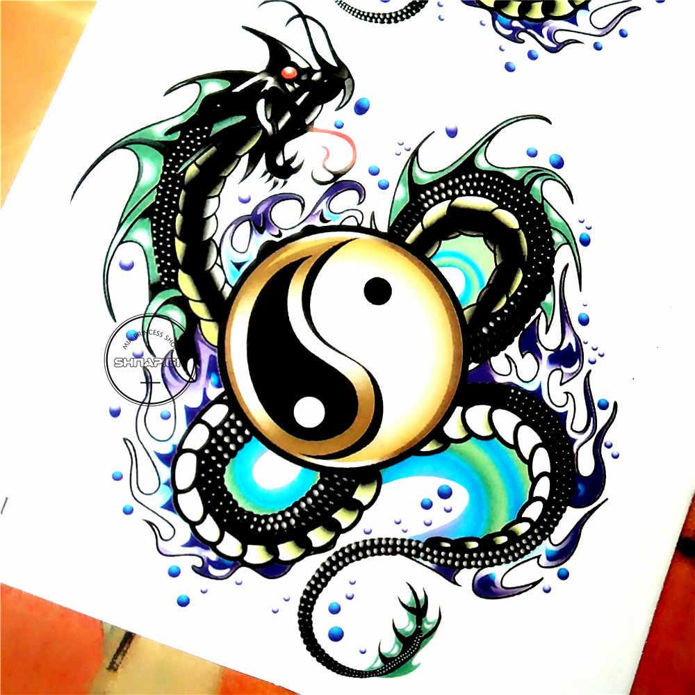 Shnapign инь ян тайчи дракон временные татуировки боди арт флэш тату наклейка S 1710 см