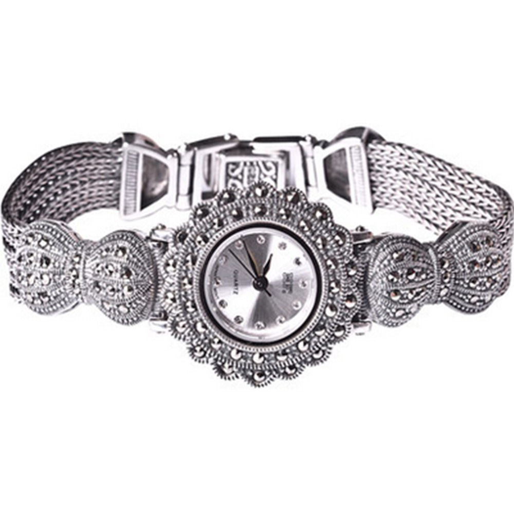 Jade Angel New Vintage Style Thai Sterling Silver Marcasite Bracelet Jewelry Ladies Womens WatchJade Angel New Vintage Style Thai Sterling Silver Marcasite Bracelet Jewelry Ladies Womens Watch