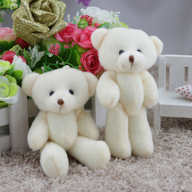 12PCS Rice White Mini Teddy Bear Stuffed Plush Toys Keychain Toy For Cartoon Bouquet Toy Wedding Gifts Christmas Promotion Gifts
