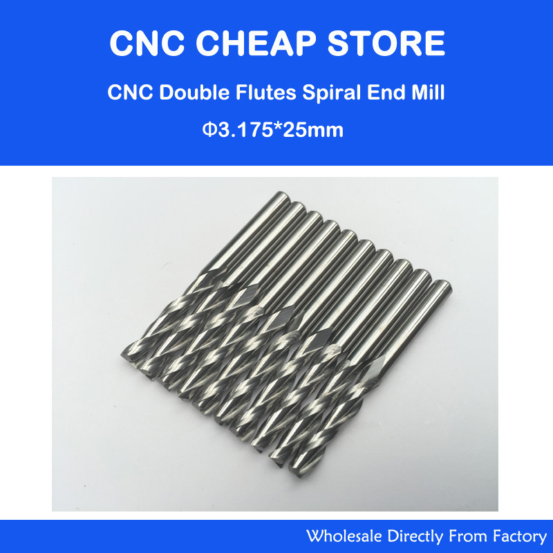 цена на Free Ship 10 pcs 1/8 Solid Carbide 3.175mm Endmill Double Two Flute Spiral Bit CNC Router Bits CED 3.175mm CEL 25mm
