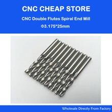 Fraises CNC à Double cannelure en carbure massif 1/8mm, mèches de routeur à Double cannelure en spirale, 3.175mm CEL 25mm, 3.175 pouces, 10 pièces, livraison gratuite