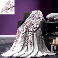 Japanese Throw Blanket Branch of a Flourishing Sakura Tree Flower Cherry Blossoms Spring Art Warm Microfiber All Season Blanket