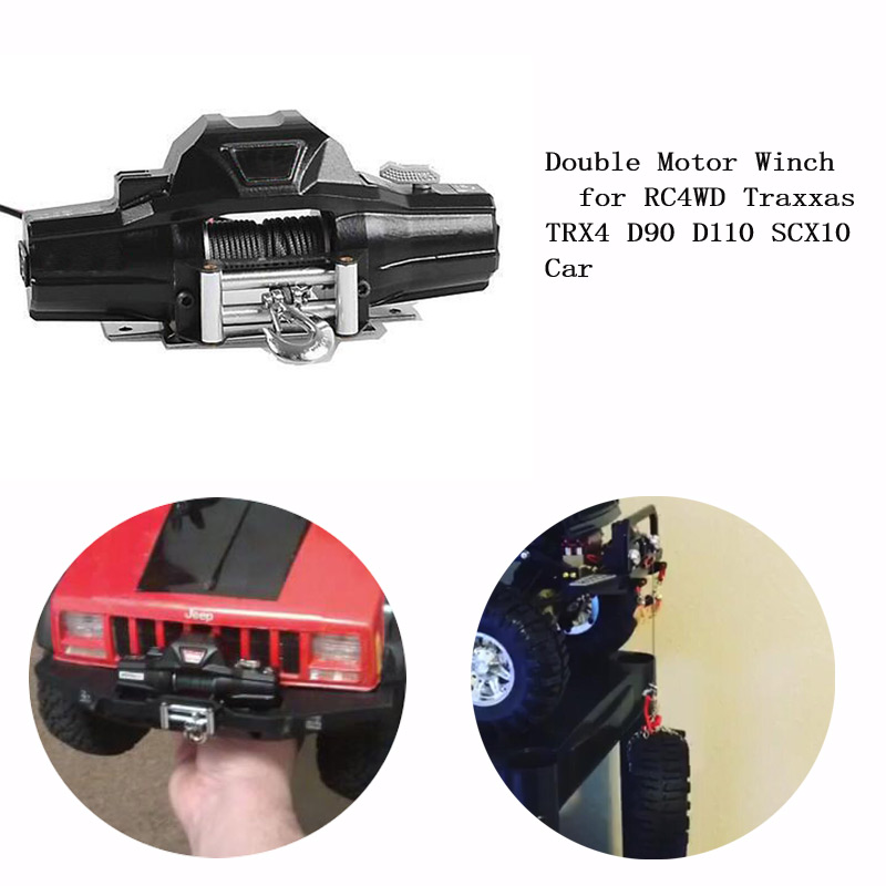 цена на Double Motor Winch w/ Wireless Remote & Receiver for 1/10 1/8 Crawler Car Traxxas TRX4 SCX10 D90 D110 RC4WD vs 1/8 Warn Zeon 10